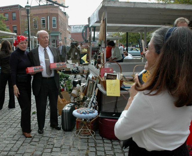 At the Apple Festival, on the Shot Tower plaza downtown, Comptroller William Donald Schaefer has his photograph taken with Rosalind Heid, left, member of the Womens' Civic League. (Baltimore Sun photo by Barbara Haddock Taylor, Oct. 14, 2004)