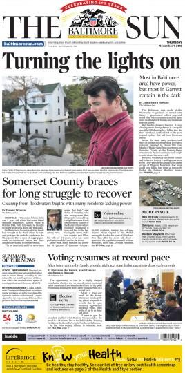 November 1, 2012 - Most of Garrett County remain in the dark after Hurricane Sandy