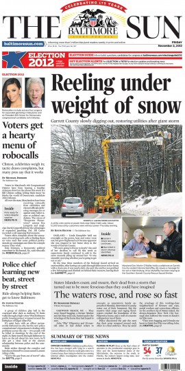 November 2, 2012 - Digging out after Hurricane Sandy brings snow to Garrett County