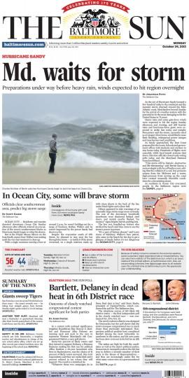 October 29, 2012 - Maryland waits for Hurricane Sandy