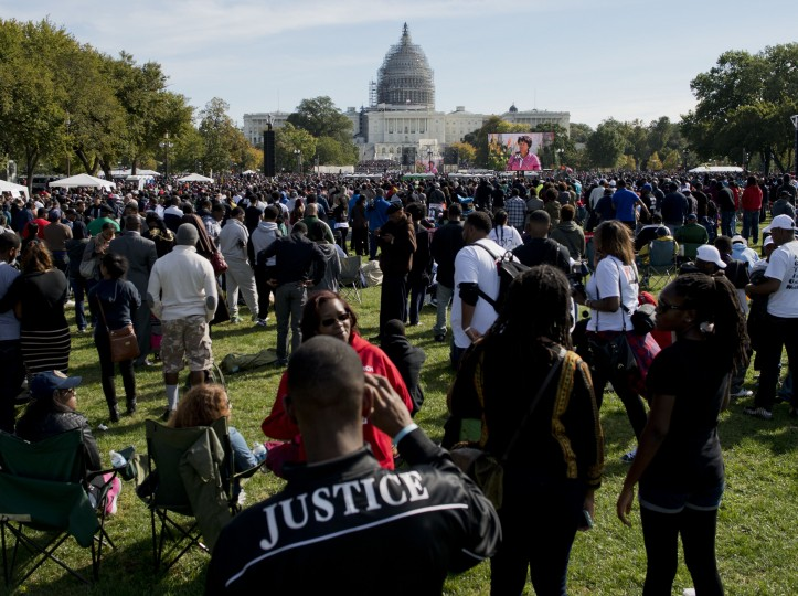 People gather on the National Mall during the Justice or Else! rally in Washington, DC on October 10, 2015. The rally commemorates the 20th anniversary of the Million Man March which took place on October 16, 1995. (Andrew Caballero-Reynolds/AFP-Getty Images)