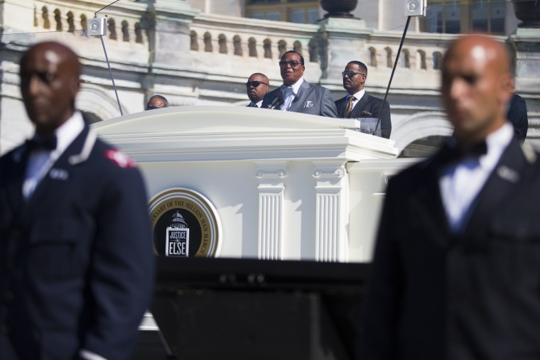 Minister Louis Farrakhan speaks during a rally to mark the 20th anniversary of the Million Man March, on Capitol Hill, on Saturday, Oct. 10, 2015, in Washington. (AP Photo/Evan Vucci)
