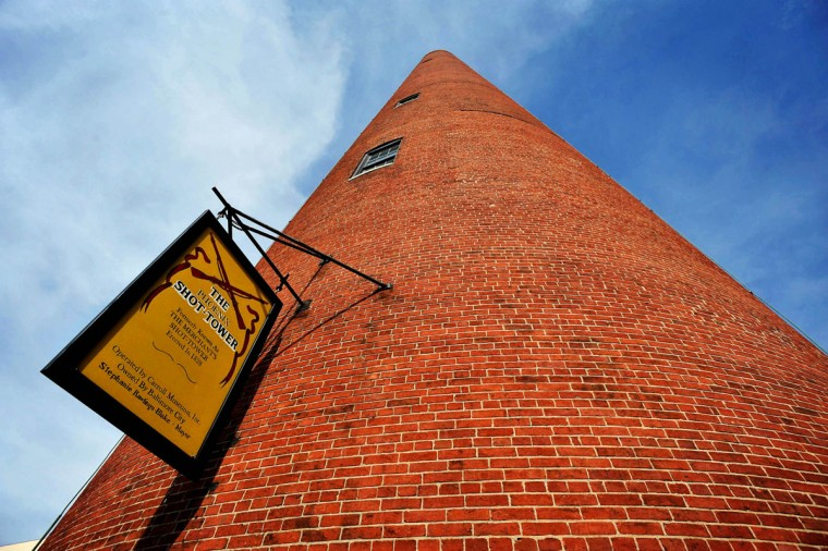 A view of the Shot Tower, one of several historic Baltimore buildings that has been repurposed. (Baltimore Sun photo by Kim Hairston, March 23, 2012)