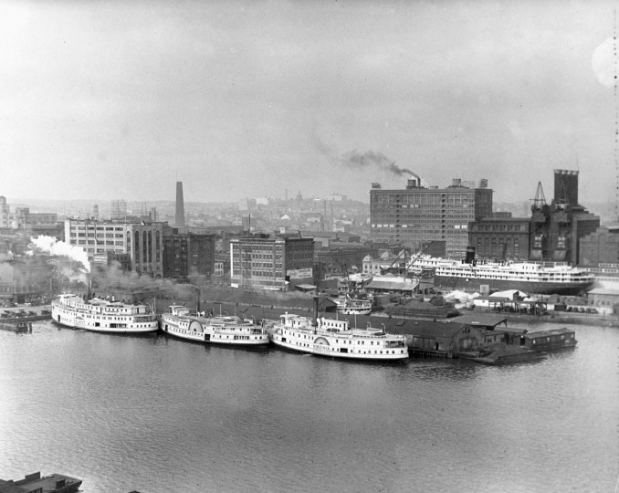 In July 1926 Steamships Talbot, Joppa and Viginia docked in Baltimore harbor. In the background is the Shot Tower. At one time the Shot Tower was the tallest building in the United States until the Washington Monument in Washington D.C. was built. (Baltimore Sun file photo)