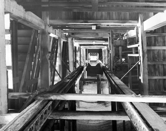 The interior of the Shot Tower as seen from the base in March 1940. The Shot Tower is 234 feet high. The base 40 feet in diameter with walls that are 4 1/2 feet thick. The tower was built in 1828 and was used until 1892. The city bought the tower in 1925. (A. Aubrey Bodine/Baltimore Sun file photo)