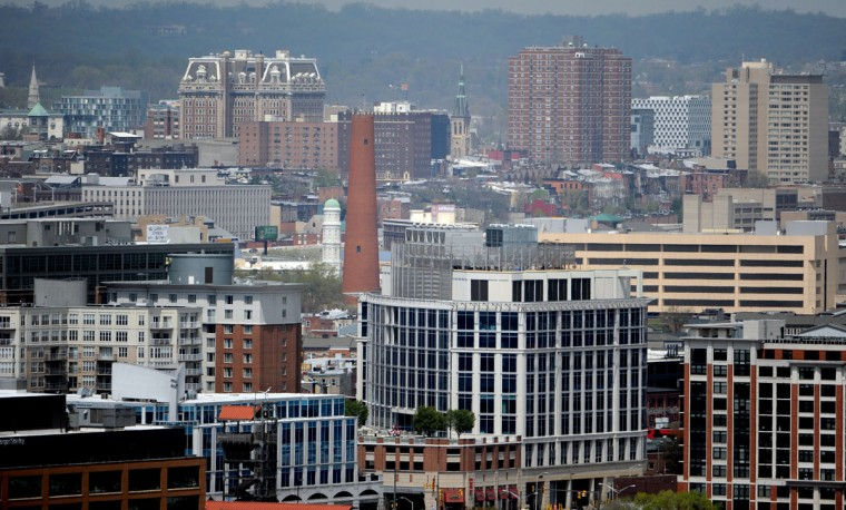A view of the Shot Tower from Silo Point on April 22, 2014. (Kim Hairston/The Baltimore Sun)