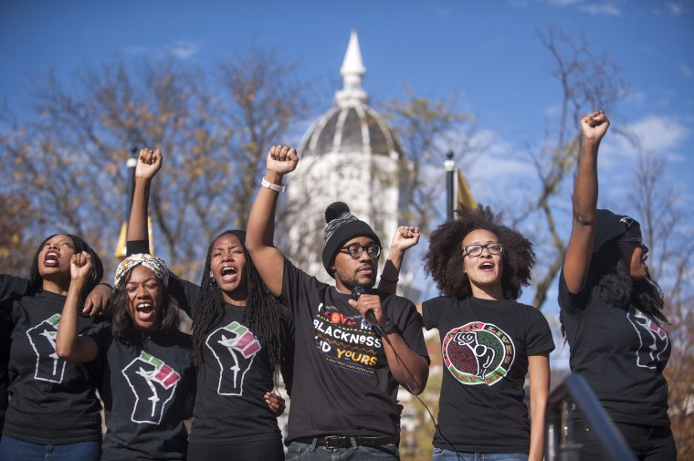 Concerned Students 1950 and the student body chant for solidarity and power at Traditions Plaza during a press conference following the Concerned Students 1950 protest on Monday, Nov. 9 2015, in Columbia, Mo. (Michael Cali/San Diego Union-Tribune/TNS)