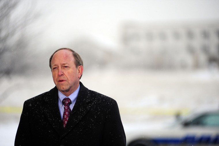 Colorado Springs Mayor John Suthers, speaks with reporters as law enforcement officers continue the investigation on Saturday, Nov. 28, 2015, following Friday's's shooting at a Planned Parenthood clinic in Colorado Springs, Colo. The suspect, Robert Lewis Dear, surrendered to law enforcement and is now in police custody. (Daniel Owen/The Gazette via AP)