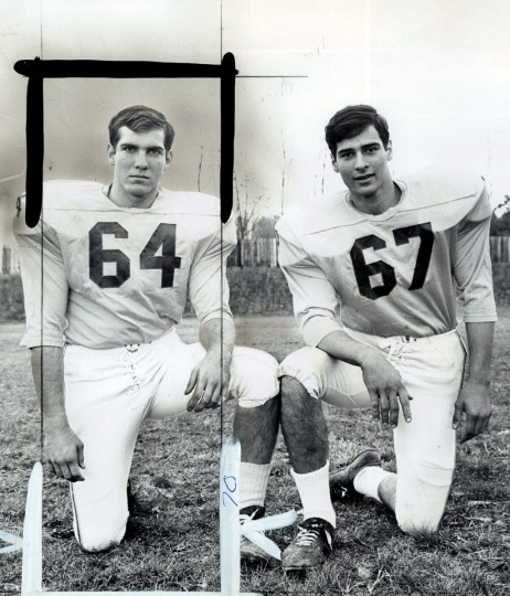 Loyola High School football players Decarlo and Romiti, 1967. (William LaForce/Baltimore Sun)