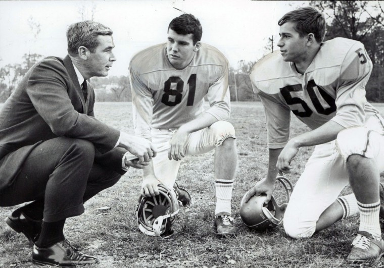 Joe Brune, Joe Dougherty, Doug Peddicord. Loyola coach and cocaptains talk about their revived offense and impending Calvert hall game. (William LaForce/Baltimore Sun, 1967)