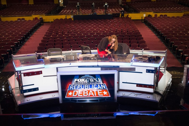 The stage at the Milwaukee Theater is prepared for the Republican presidential debate sponsored by Fox Business News and the Wall Street Journal on November 9, 2015 in Milwaukee, Wisconsin. The debate, which is scheduled for tomorrow evening, will be the third for the Republicans seeking their party's nomination for president. (Photo by Scott Olson/Getty Images)