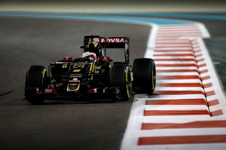 Romain Grosjean of France and Lotus drives during practice for the Abu Dhabi Formula One Grand Prix at Yas Marina Circuit on November 27, 2015 in Abu Dhabi, United Arab Emirates. (Photo by Mark Thompson/Getty Images)