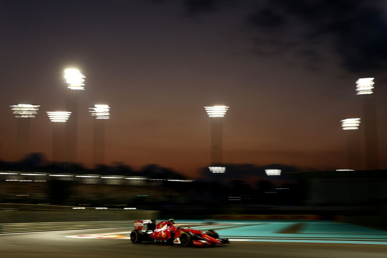 Kimi Raikkonen of Finland and Ferrari drives during practice for the Abu Dhabi Formula One Grand Prix at Yas Marina Circuit on November 27, 2015 in Abu Dhabi, United Arab Emirates. (Photo by Clive Mason/Getty Images)