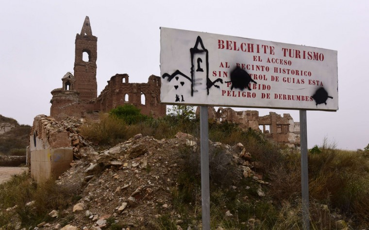 The ruins of San Martin de Tours church in the old village of Belchite in Aragon stand on November 12, 2015.(GERARD JULIEN/AFP/Getty Images)