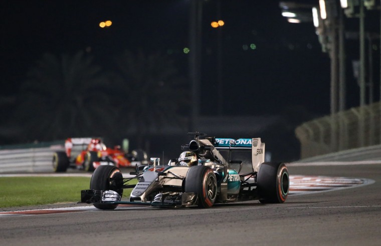 Mercedes AMG Petronas F1 Team's British driver Lewis Hamilton drives during the second practice session at the Yas Marina circuit in Abu Dhabi on November 27, 2015 ahead of the Abu Dhabi Formula One Grand Prix. (KARIM SAHIB/AFP/Getty Images)
