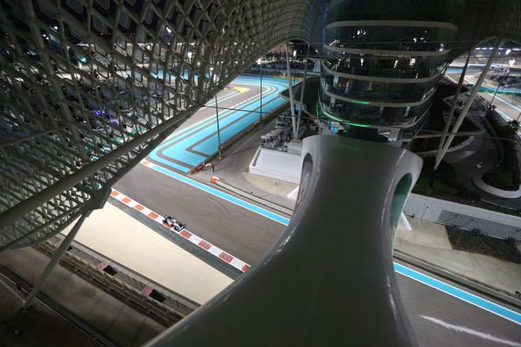 Mercedes AMG Petronas F1 Team's British driver Lewis Hamilton drives during the second practice session at the Yas Marina circuit in Abu Dhabi on November 27, 2015 ahead of the Abu Dhabi Formula One Grand Prix. (MARWAN NAAMANI/AFP/Getty Images)