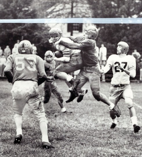 Poly intercepts a pass intended for #38 of Loyola in the 2nd quarter. (Ralph Robinson/Baltimore Sun, 1956)
