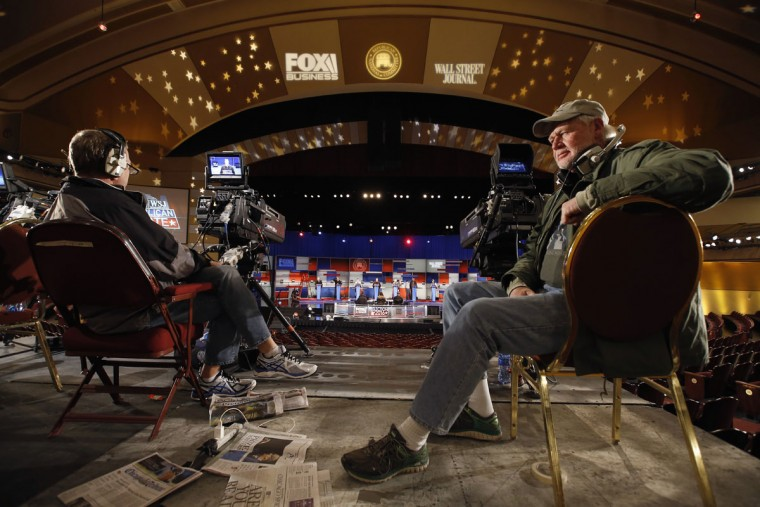 Camera operators run a test in preparation for Tuesday's Republican debate, Monday, Nov. 9, 2015, in Milwaukee. (AP Photo/Morry Gash)