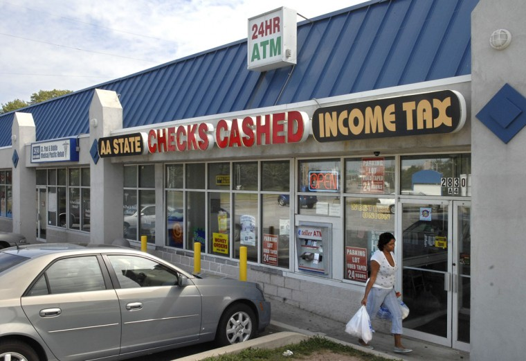 AA State check cashing and income tax store, which offers varied financial services for those without bank accounts, is pictured on Hanover Street in Cherry Hill on Sept. 19, 2007. (Baltimore Sun photo by Amy Davis)