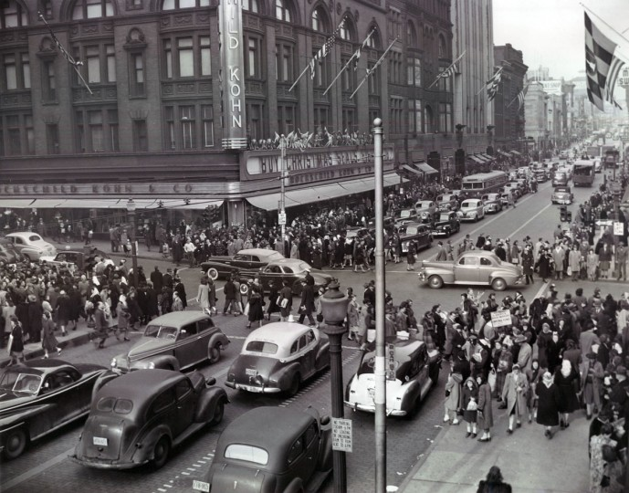 December 15, 1947 - Immense mobs converge at the intersection of Lexington and Howard Streets amidst the blare of horns, shouts of pseudo Santas and delighted squeals of misinformed juveniles. (Robert Mottar/Baltimore Sun)