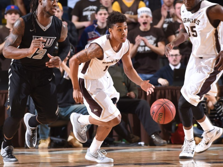 Name: Jaylen Adams College: St. Bonaventure Position: Guard Year: Sophomore High school: Mount Saint Joseph Hometown: Baltimore 2014-15 stats: 10.0 points, 4.5 assists, 2.5 rebounds, 38.6% FG, 32.5 minutes A broken ring finger ended his freshman season with nine games remaining, but Adams did plenty in the first 22 to cement his spot on the list. A three-time Atlantic 10 Rookie of the Week, Adams was the Bonnies' starting point guard from Day One and had an assist-to-turnover ratio of 2.3-to-1. He tied a school record with 14 assists in a January overtime win against Duquesne. Photo courtesy of the St. Bonaventure athletic department