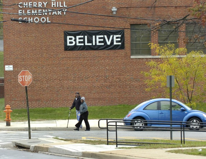 A BELIEVE sign still remains tacked to Cherry Hill's Elementary School on Bridgeview Rd. (Baltimore Sun photo, Nov. 9, 2007)