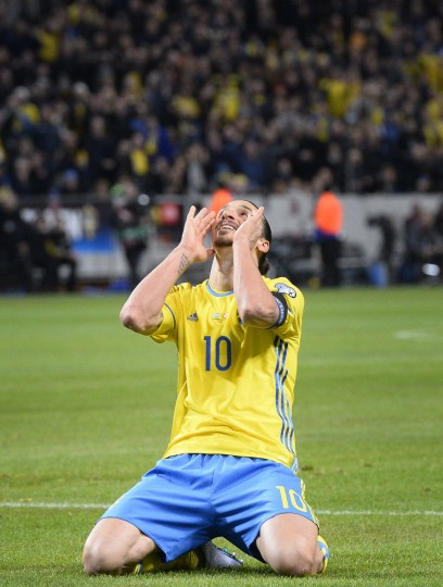 Sweden's forward and team captain Zlatan Ibrahimovic reacts during the Euro 2016 play-off football match between Sweden and Denmark at the Friends arena in Solna on November 14, 2015. (Jonathan nackstrand/AFP-Getty Images)
