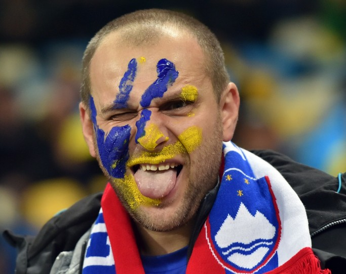 A spectator at the Euro 2016 play-off football match between Ukraine and Slovenia at the Arena Lviv stadium in Lviv on November 14, 2015 (Sergei Supinsky/AFP-Getty Images)