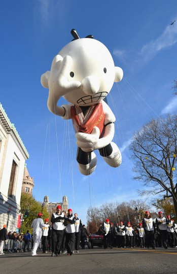 The Greg Heffley from Diary of a Wimpy Kid balloon floats through the parade route during the 89th Annual Macy's Thanksgiving Day Parade on November 26, 2015 in New York City. (Photo by Michael Loccisano/Getty Images)