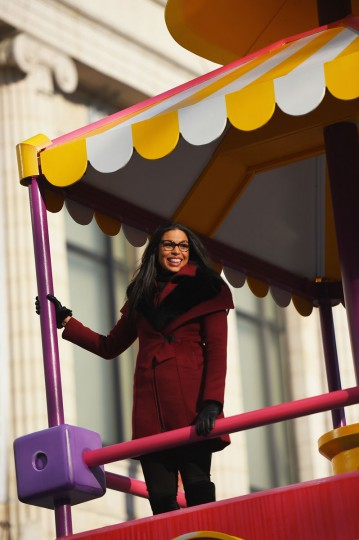 Singer Jordin Sparks rides a float through the parade route during the 89th Annual Macy's Thanksgiving Day Parade on November 26, 2015 in New York City. (Photo by Michael Loccisano/Getty Images)