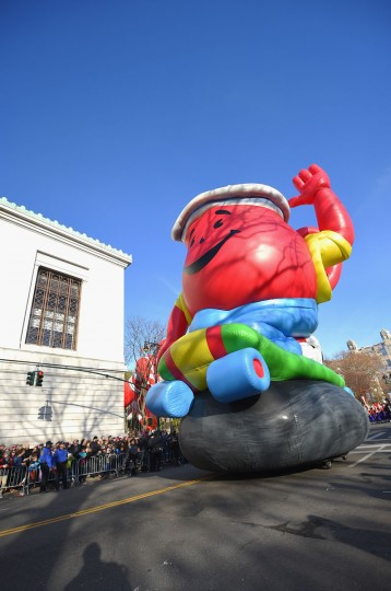 The The Kool-Aid Man balloon floats through the parade route during the 89th Annual Macy's Thanksgiving Day Parade on November 26, 2015 in New York City. (Photo by Michael Loccisano/Getty Images)