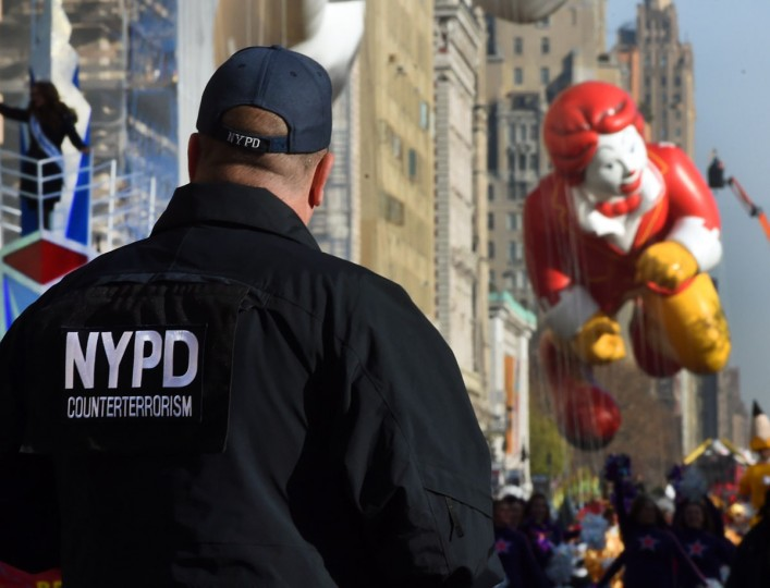 New York City Police Counterterrorism Police watch over the parade route during the 89th Annual Macy's Thanksgiving Day Parade on November 26, 2015 in New York City. An extra 1,300 counter-terrorism and crowd-control police officers are deployed to protect the parade. (TIMOTHY A. CLARY/AFP/Getty Images)