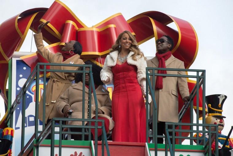 Mariah Carey waves from a float during the Macy's Thanksgiving Day Parade, Thursday, Nov. 26, 2015 in New York. (AP Photo/Bryan R. Smith)