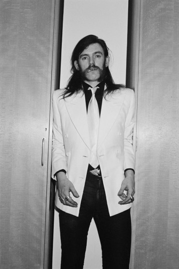 Singer and bassist Lemmy Kilmister from Motorhead posed backstage at Top Of The Pops TV Studios in London in February 1981. (Fin Costello/Redferns)