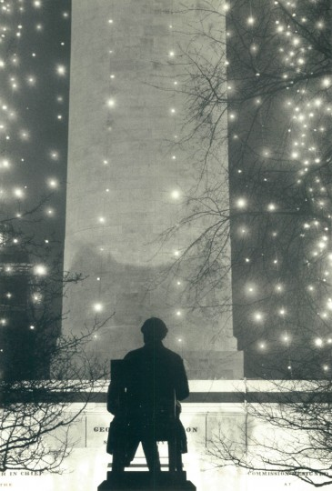 The statue of George Peabody, east of the Washington Monument, had quite a view of the light display. (Jed Kirschbaum/Baltimore Sun, 1985)