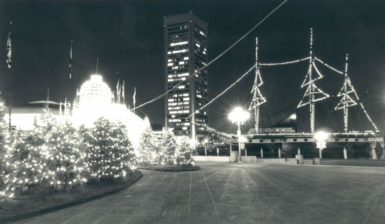 Lights dot the Inner Harbor as the miniature lights take over to illuminate the area. (Karl M. Ferron/Baltimore Sun, 1990)