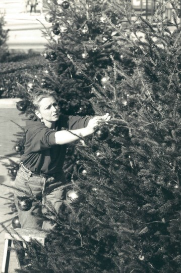 Barbara Adams decorates Christmas trees at the Inner Harbor. (Rader/Baltimore Sun, 1990)