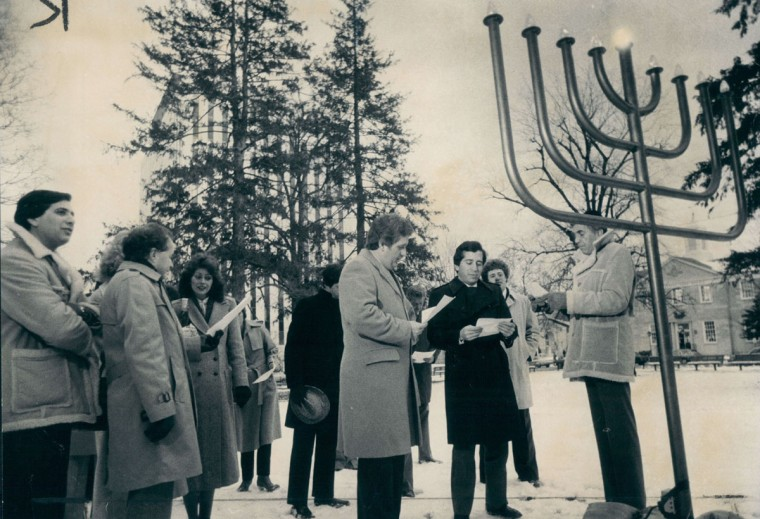 The lighting of an electric menorah in Towson. (George H. Cook/Baltimore Sun, 1981)