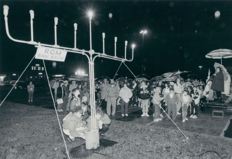 The Jewish group B'Nai B'Rith, of Reisterstown, held a Hanukkah candle lighting ceremony by lighting an electric Menorah at the Reisterstown Shopping Center marking the beginning of the Hanukkah season. (Kenneth K. Lam/Baltimore Sun, 1991)