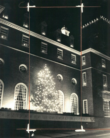 Christmas decorations on St. Paul Street. (Baltimore Sun, 1971)