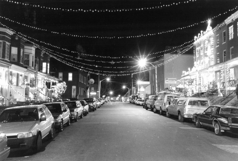 The decorated streets and homes of Hampden, seen here in 1991, have for years become something of a tourist destination during the holiday season. (Gene Sweeney Jr./ Baltimore Sun)