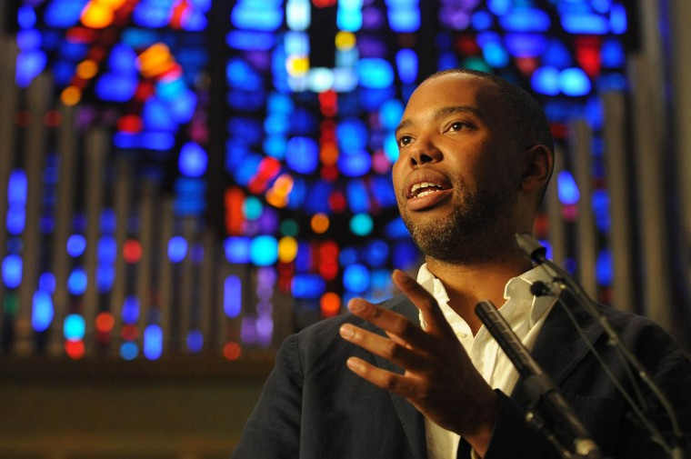 """Author Ta-Nehisi Coates speaks to an audience at Union Baptist Church. His new book is """"Between the World and Me."""" Toni Morrison has anointed as the intellectual successor to James Baldwin. His essay last year, """"The Case for Reparations"""" won a Polk Award. (Algerina Perna, Baltimore Sun)"""