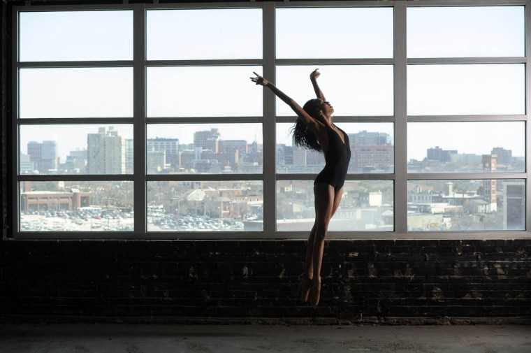 Courtney Celeste Spears dances in the Sun studio. She is a student in the Ailey/Fordham B.F.A. Program. (Barbara Haddock Taylor, Baltimore Sun)