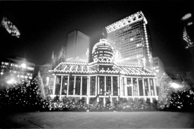 Santa's Place, in front of the office buildings in the inner harbor area. Soft focus filter was used to soften the lights. (Baltimore Sun/Karl M. Ferron, 1994)