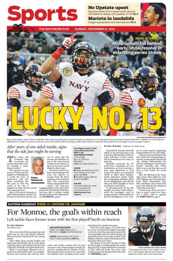 The Baltimore Sun's Sports cover for Dec. 14, 2014.