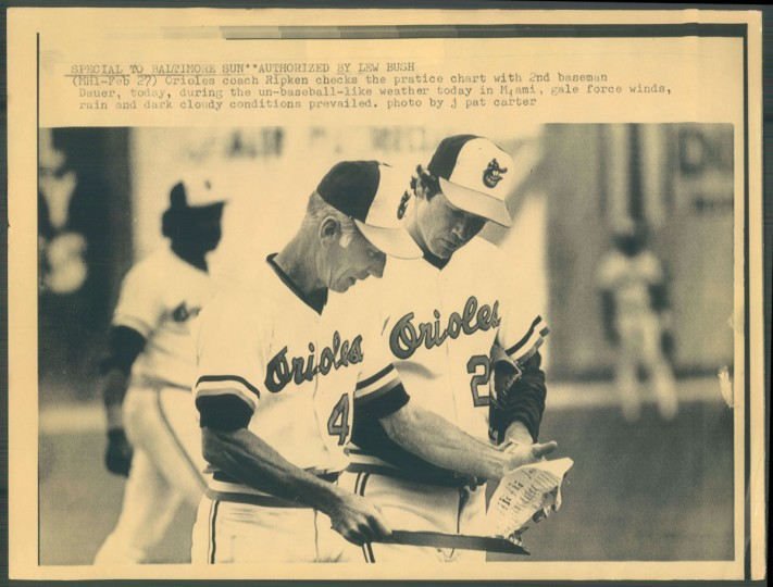 Cal Ripken Sr. looks at a practice chart during spring training in Miami. (Baltimore Sun photo)