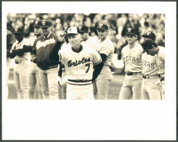 Cal Ripken Sr. is introduced on Opening Day April 4, 1987. (Baltimore Sun photo by Barbara Haddock Taylor)