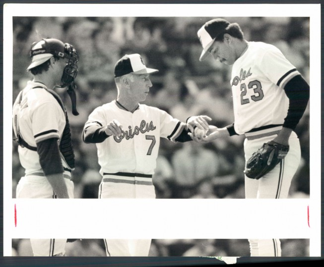 Cal Ripken Sr. heads to the mound on Opening Day on April 5, 1988 at Memorial Stadium. (Baltimore Sun photo by Jed Kirschbaum)
