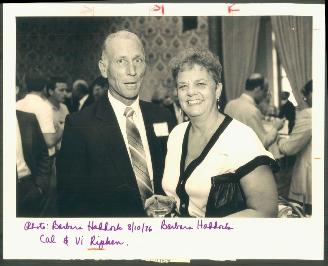 Cal Sr. and Vi Ripken are pictured on Aug. 17, 1986. (Baltimore Sun photo by Barbara Haddock Taylor)