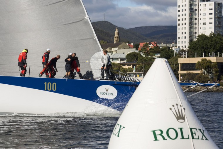 This handout photo from Rolex taken on December 29, 2015 shows Ragamuffin 100 arriving in Hobart after the Sydney to Hobart yacht race. (STEFANO GATTINI/AFP/Getty Images)